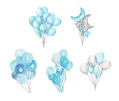 Set of Blue balloons. Watercolor illustration. vector