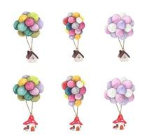 Set of House hanging with colorful balloon. Watercolor illustrations. vector