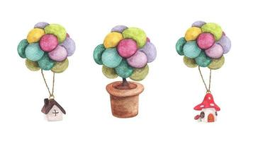 Set of House hanging with colorful balloon and tree in pot. Watercolor illustrations. vector