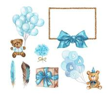 Watercolor baby shower. Set of design elements. vector