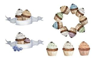 Set of Colorful cupcakes. Watercolor illustrations. vector