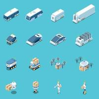 Unmanned Vehicles Icons Collection Vector Illustration
