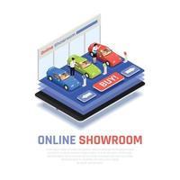 Car Dealership Composition Vector Illustration