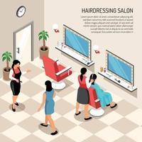 Ilustración de vector de ilustración isométrica de peluquería salón