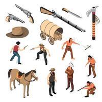 Wild West Isometric Set Vector Illustration