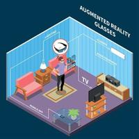 Augmented Reality Glasses Composition Vector Illustration