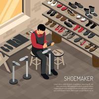 Shoe Maker Isometric Illustration Vector Illustration