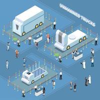 Autonomous Trucks Exhibition Composition Vector Illustration