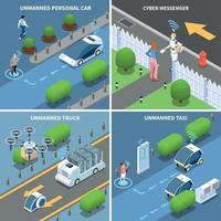 Autonomous Cars Design Concept Vector Illustration