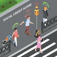 Social Credit Score Composition Vector Illustration