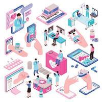 Online Medicine Set Vector Illustration