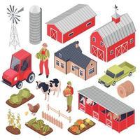 Isometric Farm Set Vector Illustration