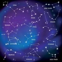 Ilustración de vector de fondo de constelaciones de mapa de cielo