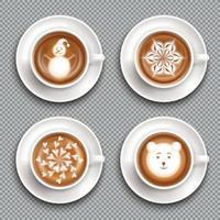 Ilustración de vector de vista superior de tazas de arte latte