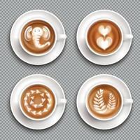 Realistic Latte Art Top View Vector Illustration