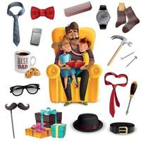 Fathers Day Set Vector Illustration