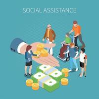 Social Assistance Isometric Composition Vector Illustration