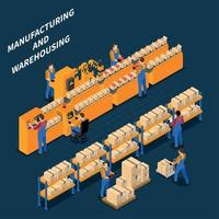Manufacturing Warehouse Isometric Composition Vector Illustration