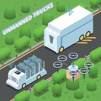 Unmanned Trucks Isometric Composition Vector Illustration