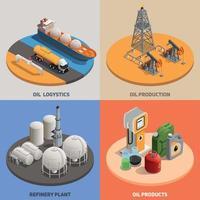 Ilustración de vector de concepto isométrico de industria petrolera