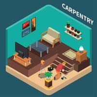 Isometric Carpentry Domestic Composition Vector Illustration
