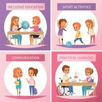 Inclusion Inclusive Education Icon Set Vector Illustration