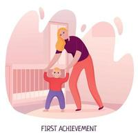 Mom Baby First Steps Illustration Vector Illustration