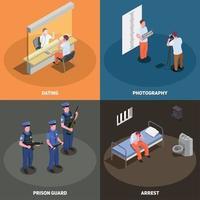 prisión, cárcel, isométrico, concepto, vector, ilustración vector