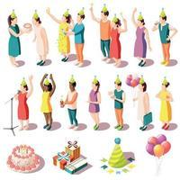 Birthday Party Isometric Icons Set Vector Illustration