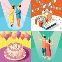 Birthday Party 2x2 Design Concept Vector Illustration