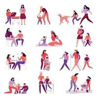Moms With Children Set Vector Illustration
