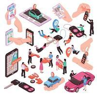 Car Sharing Set Vector Illustration