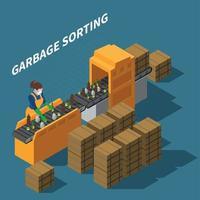 Garbage Sorting Conveyor Composition Vector Illustration