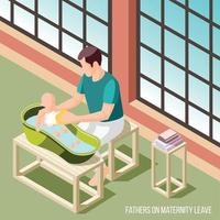Fathers On Maternity Leave Vector Illustration