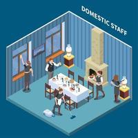 Domestic Staff Isometric Composition Vector Illustration