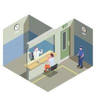 prisión cárcel composición isométrica ilustración vectorial vector