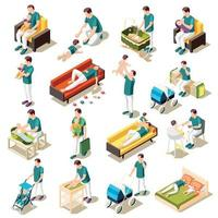 Fathers On Maternity Leave Isometric Set Vector Illustration