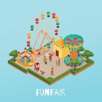 Fun Fair Isometric Illustration Vector Illustration