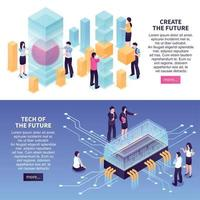 Isometric High Technology Banners Set Vector Illustration