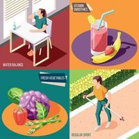 Healthy Lifestyle 2x2 Design Concept Vector Illustration