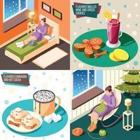 Cozy Winter 2x2 Design Concept Vector Illustration