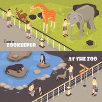 At Zoo Horizontal Banners Vector Illustration