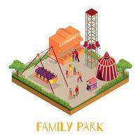 Family Park Isometric Illustration Vector Illustration