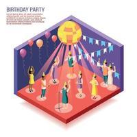 Birthday Party Isometric Vector Illustration