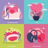 Love Couple Flat Icon Set Vector Illustration
