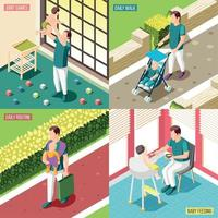 Fathers On Maternity Leave 2x2 Design Concept Vector Illustration