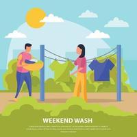 Ilustración de vector de composición de personas de fines de semana perezosos de color plano