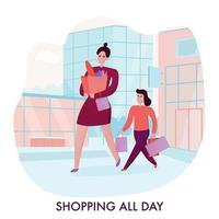 Mother With Daughter Shopping Illustration Vector Illustration