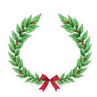 Christmas Wreath Realistic Sign Vector Illustration
