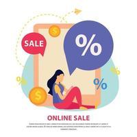 Great Sale Flat Brochure Vector Illustration